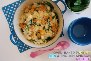 Oven-Baked Pumpkin, Feta, & English Spinach Risotto Recipe