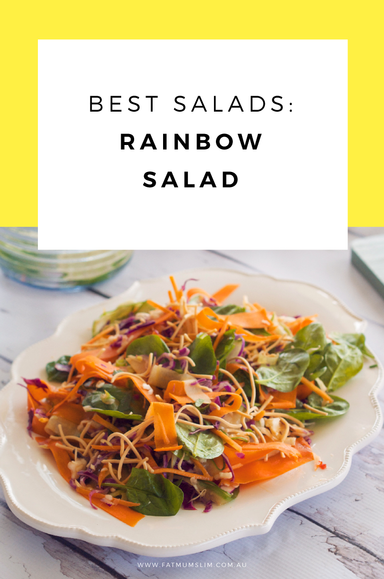 Oh yummo! Want a salad that will brighten up the table, and get everyone's tastebuds dancing? This is it! Rainbow Salad for the win. Pin it for later.