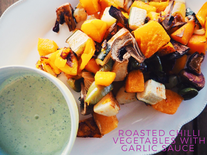 Roasted Chilli Vegetables with Garlic Sauce Recipe
