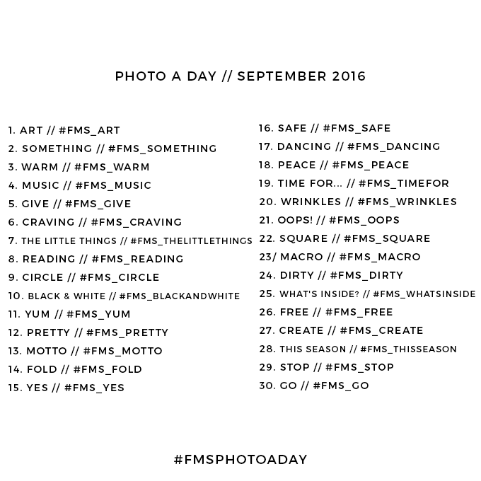 September 2016 photo a day challenge