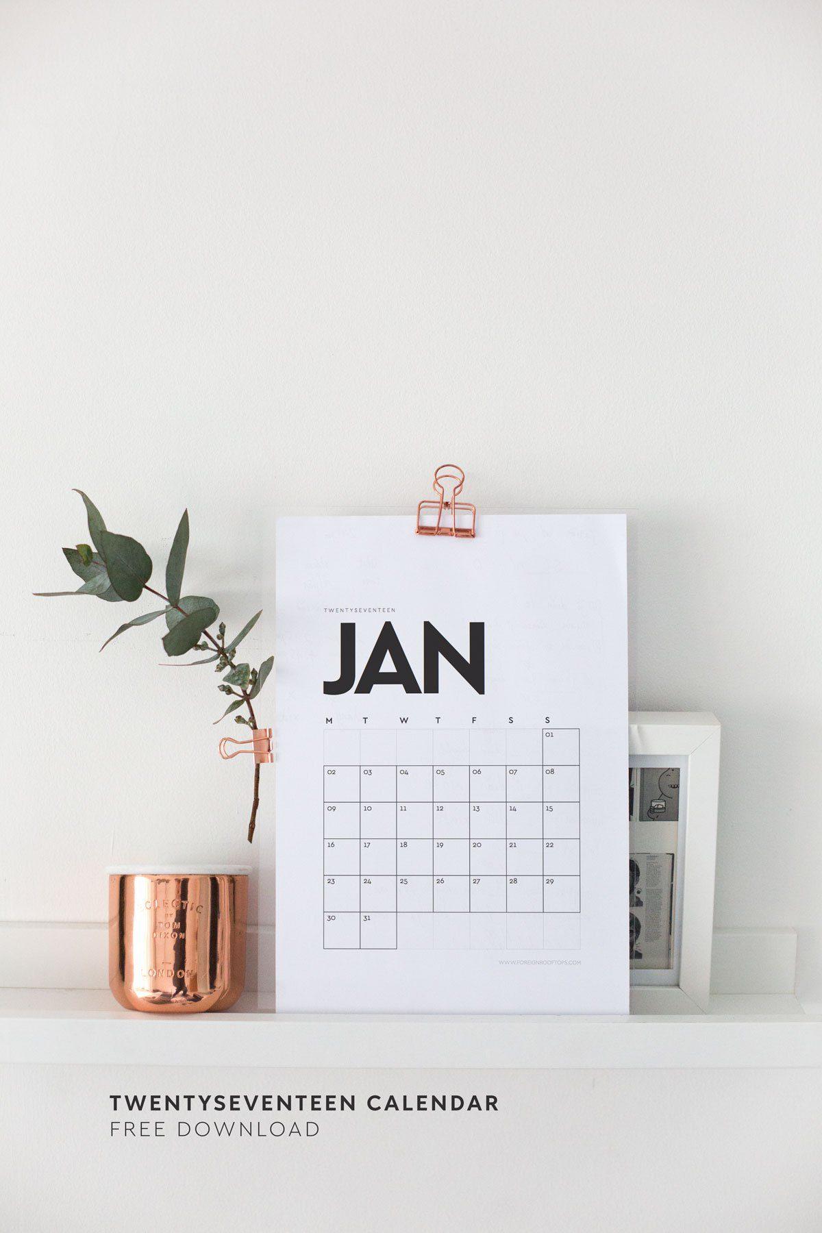 The Best Free 2017 Printable Calendars