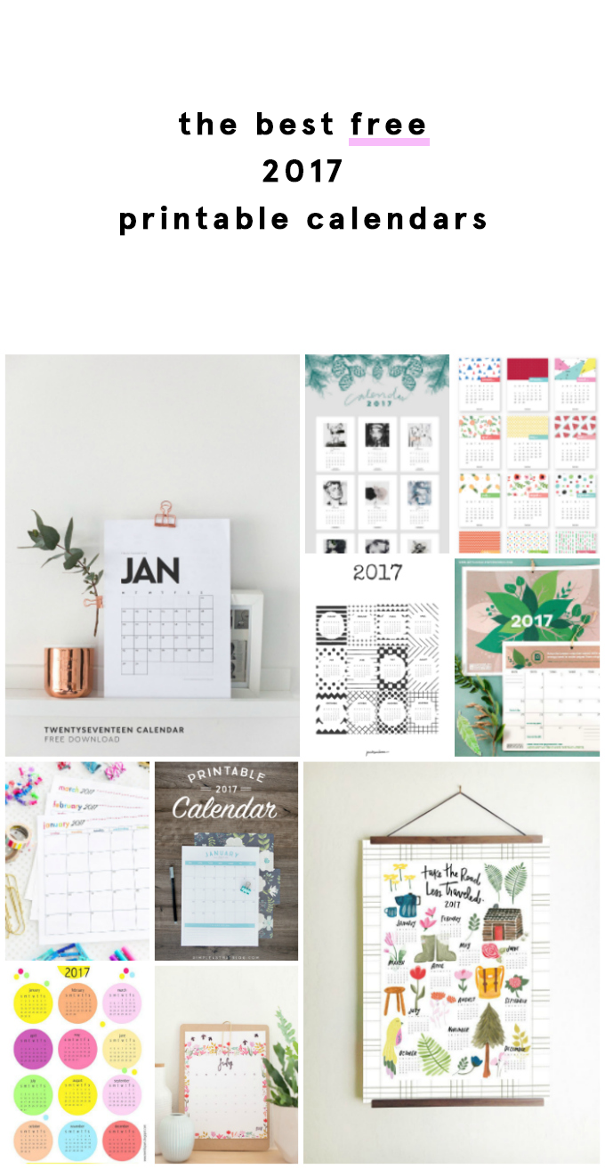 The Best Free 2017 Printable Calendars. Get printing and planning now!