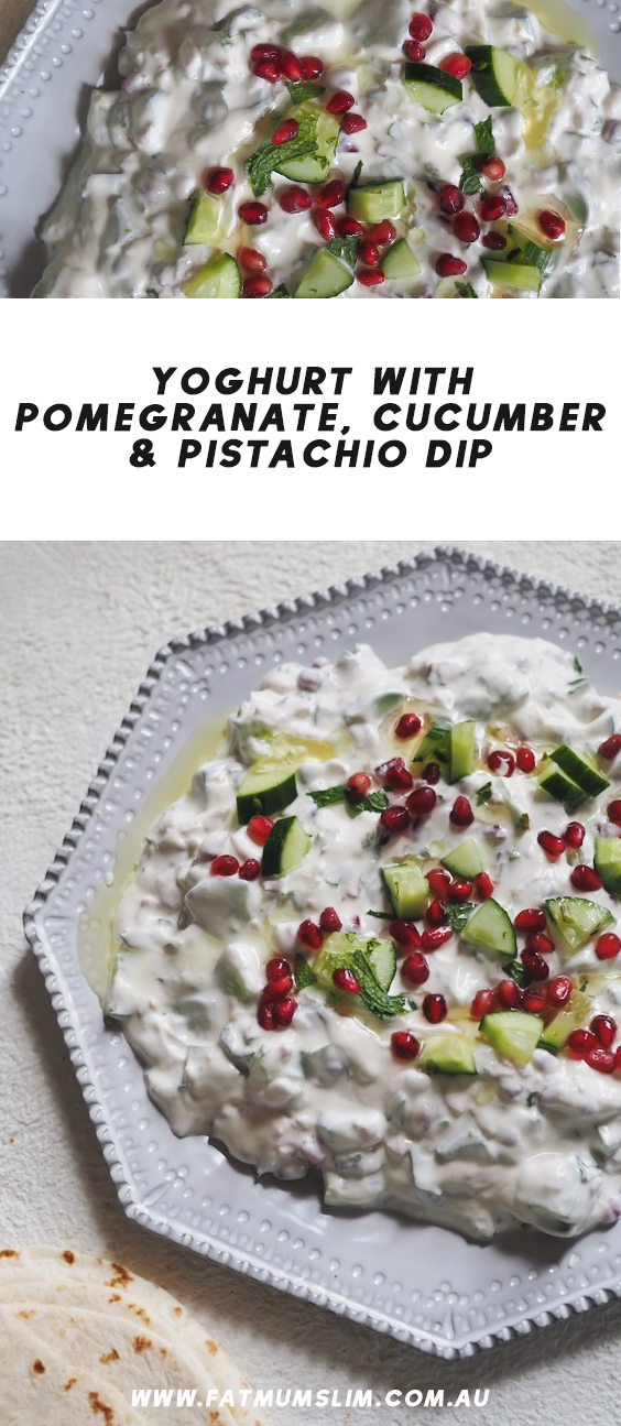 Yoghurt with Pomegranate, cucumber and pistacho dip